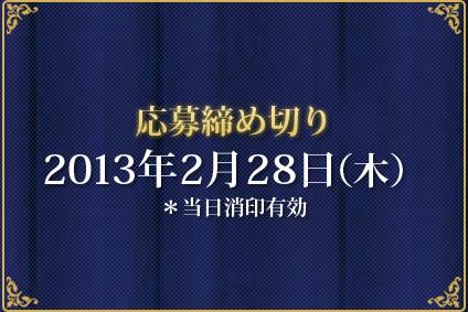 応募締め切り2013年2月28日(木)※当日消印有効