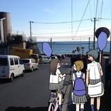 ロケハン時の写真に、青木氏がキャラクターを描いたイメージボード