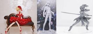写真左から「アイドル皇帝/ネロ」(アクアマリン)「セイバー/アルトリア・ペンドラゴン[オルタ] 私服ver.」(コトブキヤ)「赤のセイバー Battle ver.」(アニプレックスプラス)
