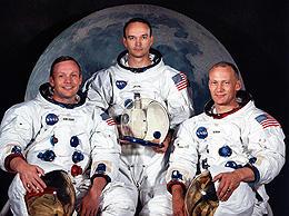 アポロ11号の乗組員 (左から)アームストロング、マイク・コリンズ、オルドリン「ザ・ムーン」