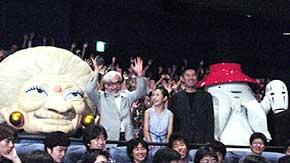 (左より)湯婆婆、宮崎監督、柊留美、 内藤剛志、おしらさま、カオナシ「もののけ姫」