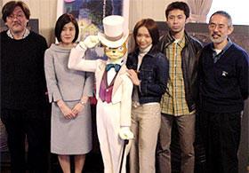 左から百瀬義行監督、柊あおい、池脇千鶴、森田宏幸監督、鈴木敏夫「猫の恩返し」