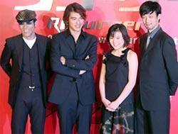 <左より>岸谷五朗、金城武、鈴木杏、山崎貴監督「恋する惑星」