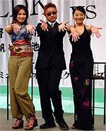 (左から)大沢たかお、 北村龍平監督、加藤雅也(左から)野波麻帆、 堤幸彦監督、小池栄子「荒神」