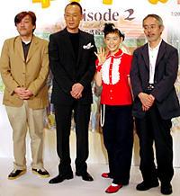 (左より)百瀬義行監督、西村雅彦、 篠原ともえ、鈴木敏夫プロデューサー「猫の恩返し」