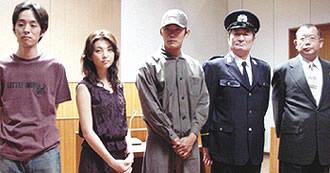 (左より)宮藤官九郎、田中麗奈、反町隆史、山崎努、笑福亭鶴瓶「13階段」