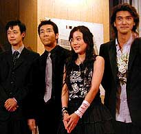 (左より)山崎貴監督、岸谷五朗、鈴木杏、金城武「ジュブナイル」