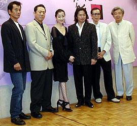 (左より)田中泯、小林稔侍、宮沢りえ、 真田広之、丹波哲郎、山田洋次監督「たそがれ清兵衛」