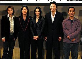 (左より)DAITA、チャン・ヒョク、シン・ミナ キム・スロ、キム・テギュン監督「火山高」