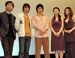 (左より)北村監督、加藤雅也、大沢たかお、小池栄子、野波麻帆「荒神」