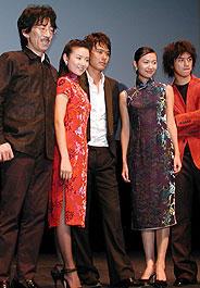 (左より)当摩監督、ドン・ジエ、渡部篤郎、 シュー・ジンレイ、チェン・ボーリン「最後の恋,初めての恋」