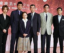 (左より)加藤晴彦、徳重聡、高村薫、 渡哲也、長塚京三、平山秀幸監督「マークスの山」