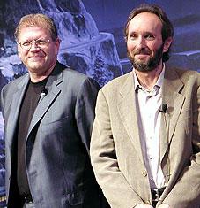 ロバート・ゼメキス監督(左)と プロディーサーのスティーブ・スターキー「ポーラー・エクスプレス」