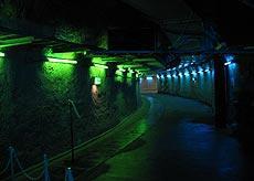 この通路の先に 水面下140メートルの会場が…「エイリアンVS.プレデター」