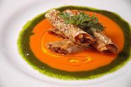 湯葉で包んだ堀川ゴボウと 仏産数種のカネロニ仕立て「スーパーサイズ・ミー」