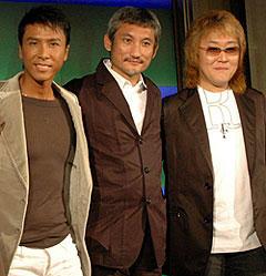 日中の実力派によるコラボが実現 (左より)ドニー・イェン、ツイ・ハーク監督、川井憲次「セブンソード」