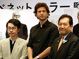 (左から)浅田彰、ベネット・ミラー監督、田中康夫知事「カポーティ」