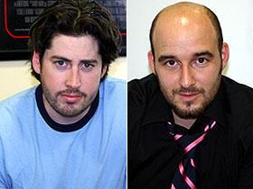 ジェイソン・ライトマン監督(左)と プロデューサーのダニエル・デュビッキ「サンキュー・スモーキング」