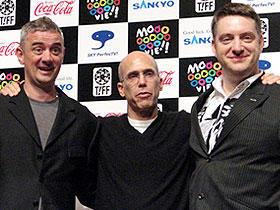 (左から)サム・フェル、ジェフリー・カッツェンバーグ、 デビッド・ボワーズ「マウス・タウン ロディとリタの大冒険」