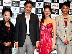 女性主導のもと作られた「TANNKA 短歌」 (左から)阿木耀子監督、村上弘明、黒谷友香、黄川田将也「TANNKA 短歌」