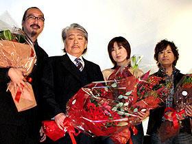 「パプリカ」(左から)今敏監督、筒井康隆、林原めぐみ、古谷徹「パプリカ」