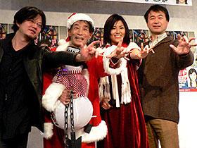 (左から)松枝佳紀、楳図かずお、渋谷飛鳥、金子修介「神の左手 悪魔の右手」