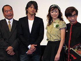 「逃亡くそたわけ/21才の夏」の出演者たち (左から)ガッツ石松、吉沢悠、美波、我修院達也