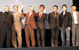 香港の映画人が勢揃い! (左から)ツイ・ハーク監督、リンゴ・ラム監督、ジョニー・トー監督、 ルイス・クー、ニコラス・ツェー、ジェイシー・チェン、ショーン・ユー
