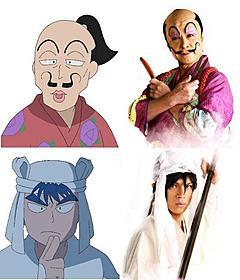 「忍たま乱太郎」で特殊メイク姿を披露する鹿賀丈史(上)と山本裕典「忍たま乱太郎」