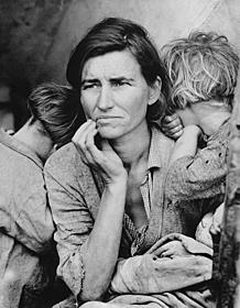 ドロシア・ラング撮影 「Migrant Mother(移住労働者の母)」「怒りの葡萄」