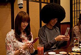 合コンシーンを撮影した松田翔太と原幹恵「アフロ田中」