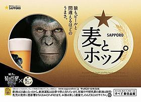 サルもビールと間違える? 「サッポロ 麦とホップ」タイアップ広告「猿の惑星」