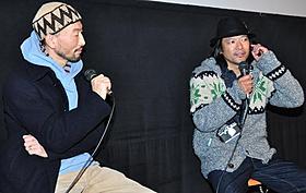 トークショーを行った写真家の藤代冥砂氏と若木信吾氏「ニーチェの馬」