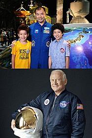 本人役で出演する宇宙飛行士の野口聡一氏とバズ・オルドリン氏「宇宙兄弟」