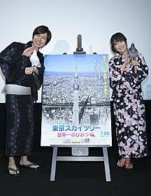 舞台挨拶に立った声優の神谷浩史と日笠陽子「劇場版 東京スカイツリー 世界一のひみつ」