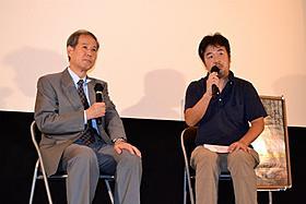 トークショーを行った長谷川三郎監督と鈴木邦男氏「ニッポンの嘘 報道写真家 福島菊次郎90歳」