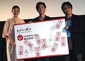 大ヒットを喜ぶ佐藤健(中央)、武井咲、大友啓史監督「るろうに剣心」