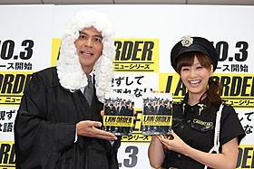 コスプレ姿で登場した岡田圭右と藤本美貴