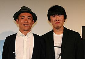 舞台挨拶に立った松江哲明監督とGOMA「フラッシュバックメモリーズ 3D」