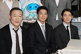 会見に出席した國村隼、唐沢寿明、吉岡秀隆