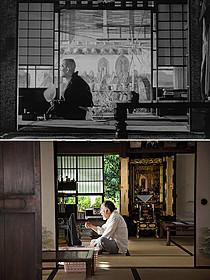 「東京物語」(上)のひとりになった周吉と、 同じ場面の「東京家族」(下)「東京物語」
