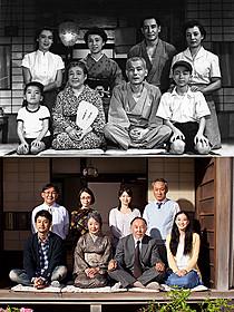 「東京物語」(上)の家族写真と、「東京家族」の写真(下)「東京物語」