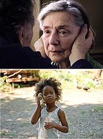 最高齢ノミネートのエマニュエル・リバ(上)と 最年少ノミネートのクワベンジャネ・ウォレス「ハッシュパピー バスタブ島の少女」