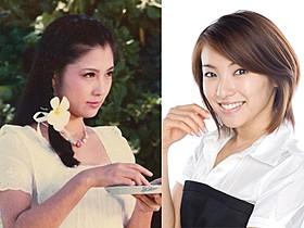 若き日の大原麗子さん(左)と内山理名