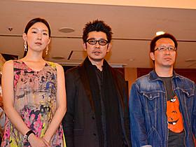(左から)江口のりこ、永瀬正敏、井上淳一監督「戦争と一人の女」