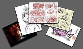トップクリエイターによる 貴重なデザイン画や設定画がポストカードに「SHORT PEACE」