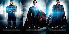 初公開のキャラクター別ビジュアル (左からゾッド将軍、スーパーマン、ジョー=エル)「マン・オブ・スティール」