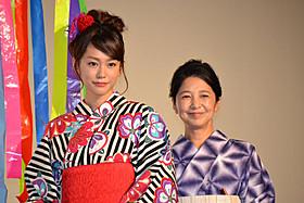 大ヒット御礼舞台挨拶に立った 桐谷美玲と宮崎美子「100回泣くこと」