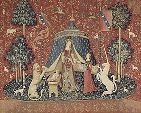 タピスリー《貴婦人と一角獣「我が唯一の望み」》、 1500年頃、フランス国立クリュニー中世美術館蔵「トゥ・ザ・ワンダー」