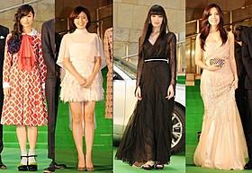 華やかなドレスで登場した忽那汐里、長澤まさみ、栗山千明、ヒョミン (左から)「潔く柔く きよくやわく」